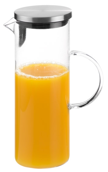 Glas-Karaffe Ø 9,5 cm, H: 27 cm, 1,5 Liter , Edelstahl