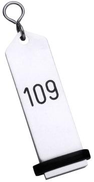 Hotel-Schlüsselanhänger 10 cm, Leichtmetall Eloxiert Silber, Modell: Standard